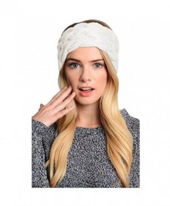 Womens Winter Knitted Headband - Crochet Twist Hair Band Headwrap Hat Cap Ear Warmer - 2 Beige - CZ188KNGYU2