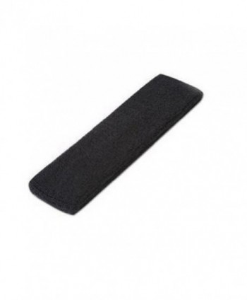 DCI Single Sports Headband 100% Terry Cloth - Black - CQ113MV3YXB