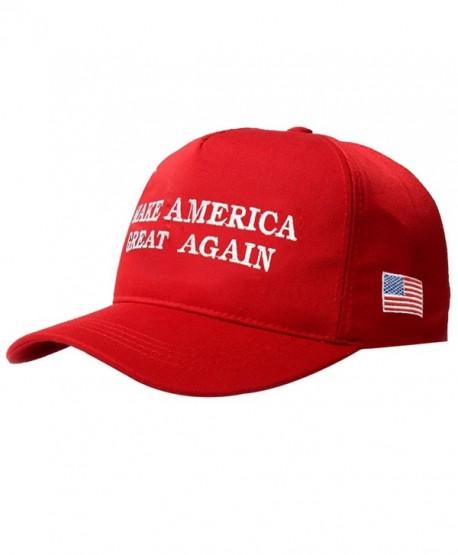 Evaliana Make American Great Again Adjustable Baseball Cap Flag Embroidered Hat - Red - CA12OCEAZOR