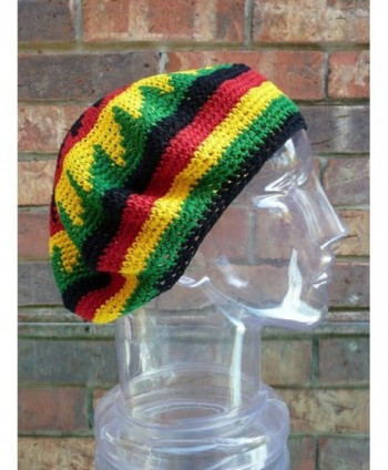 TAM BERET Hand Crochet Knit Slouchy Dread Rasta Reggae Hat with STRIPES - C4119VFZNSV
