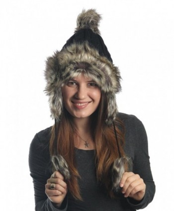 KayJay Earflap Furry Cable Knit Trooper Trapper PomPom Ski Snow Hat - Black - CG11QPCSP1P