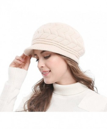 Bellady Women's Lady's Winter Knit Thick Warm Hats Beanie Hat Ski Caps With Visor - Beige - C01286W4AXH