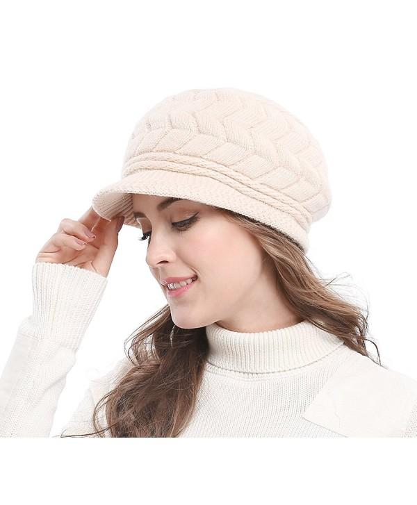 Bellady Women's Lady's Winter Knit Thick Warm Hats Beanie Hat Ski Caps With Visor - Beige - C01286W4AXH