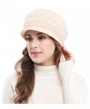 537b95cac2f Bellady Women s Lady s Winter Knit Thick Warm Hats Beanie Hat Ski Caps With  Visor - Beige  Bellady Womens Ladys Winter Beanie ...