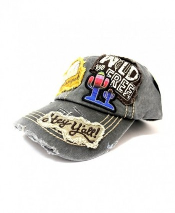 "Vintage Black ""Y'ALL- HAPPY CAMPER- WILD FREE"" Multi-Patch Embroidered Adjustable Cap - C017Z58ILOT"
