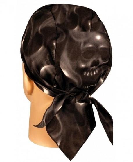 Skull Cap Biker Caps Headwraps Doo Rags - Ghost Skulls on Black - CW12ELHNBJ1