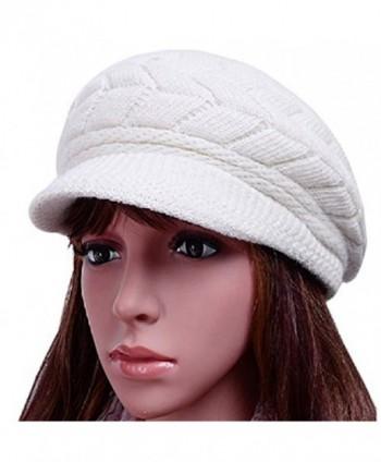 Women Lady Braided Warm Cabled Knit Winter Beanie Crochet Hats Newsboy Caps White - CS129B3VO71