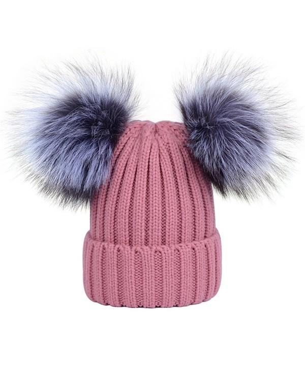 DELORESDKX Women Winter Fur Pom Pom Knit Hats Beanie With Double Real Fox Fur Pom Warm Ski Snowboard Cap - Pink - CW188DLXAOL