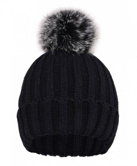 D Diana Dickson Cute Fluffy Fur Pompom Knit Winter Beanie Hat - Black - CC188IO8845