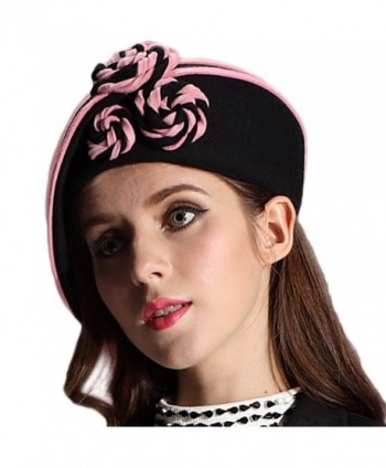 June's Young Ladies 100% Wool Beret Warm Felt Hats&caps Floral(black/pink) - CU11SG7NS0F
