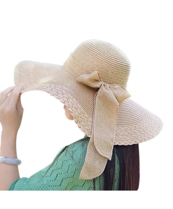 Messar Women's Summer Folable Floppy Straw Hat Big Bowknot Wide Brim Beach Sun Hat - Brown - CQ183YD6NAY