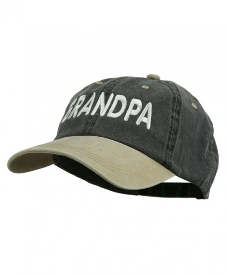 Wording Of Grandpa Embroidered Washed Two Tone Cap - Black Khaki - CV11USNEAXN