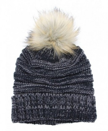 Bioterti Women's Slouchy Knit Beanie: Bobble Hat Faux Fur Pom Pom Oversized Ski Cap - Black+white - C51892ED32S