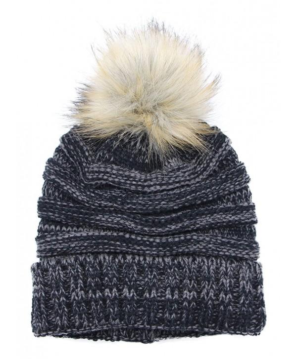 700c7d76ec9 Bioterti Women s Slouchy Knit Beanie  Bobble Hat Faux Fur Pom Pom Oversized  Ski Cap -