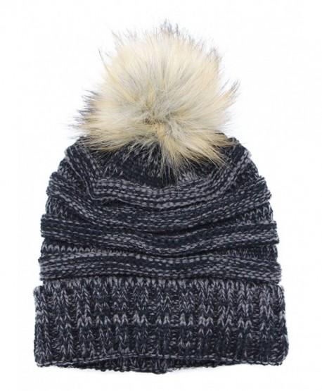 Bioterti Women s Slouchy Knit Beanie  Bobble Hat Faux Fur Pom Pom Oversized  Ski Cap - 6d70be8221c