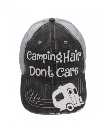 Camping hair Don't Care Glittering Rocks any Outfit Trucker Cap Hat (Grey/White) - CQ12O6EEOK8
