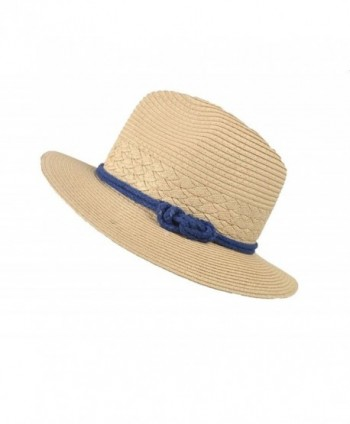Yonger Summer Sun Beach Straw Hats Wide Brim Bowknot Hat for Travel Beach Vacation - CB1822MKXO5