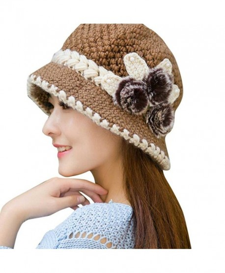 c23a06c21074e Haoricu Beret Cap- Fashion Womens Flower Knit Crochet Beanie Hat Winter  Warm Cap -