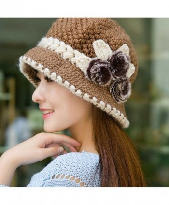 ff09355fe2f14 Beret Cap- Fashion Womens Flower Knit Crochet Beanie Hat Winter Warm ...