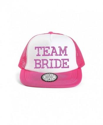 Team Bride Baseball Hat Crystal Bridal Wedding Party Trucker Cap - Pink - CB12GNLBL0J