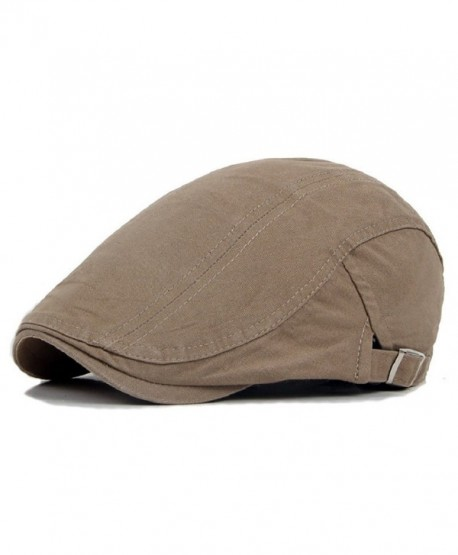 ab4336c9ec1 Gilroy Men Classic Solid Color Cabbie Newsboy Flat Ivy Hat Beret Cap -  Light Khaki -