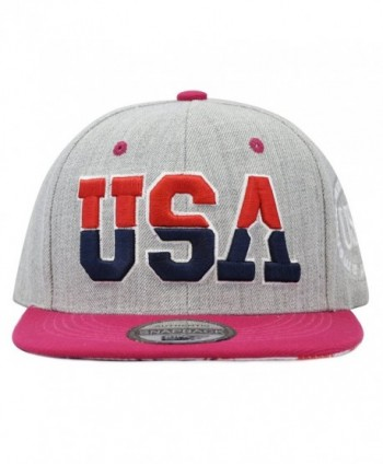 The Hat Depot Unisex Soft Heather Grey 3D USA Embroidered Snapback Cap Hat - Fuchsia - CM12E4OD77R