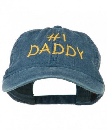 Number One Daddy Embroidered Washed Cotton Cap - Navy - C311MJ3VDDB