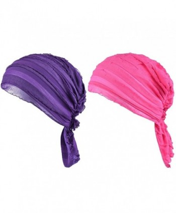 Staringirl Women 2 Pack Ruffle Chemo Hat Beanie Head Scarf Hair Coverings Cancer Caps - Color5 - CZ1820N754Q