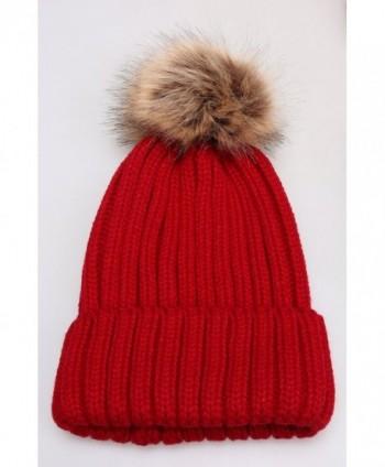 1ec571568b06c MSG Women Warm Knit Hat Detachable Faux Fur Pom Winter Beanie M30 - Wine Red  -  Detachable Fur Pom Beanie M30  Detachable Fur Pom Beanie M30 in Women s  ...