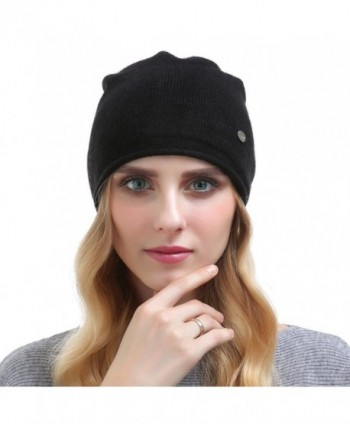 Vemolla Women's Solid Ski Skullies Edge Curling Beanie Hat Soft Cashmere Knitting Cap - Black - CF187R78CWR