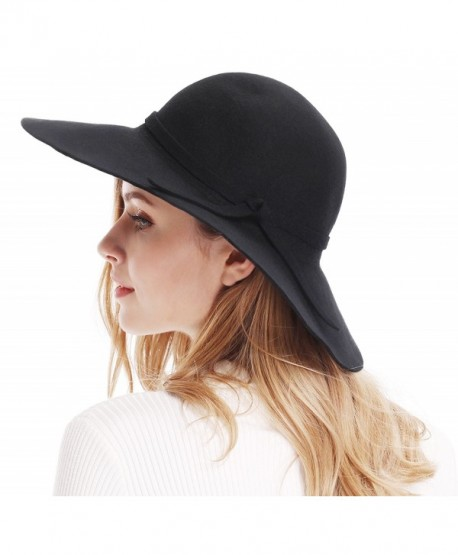 97aa488848e4e Bienvenu Women s Wide Brim Wool Ribbon Band Floppy Hat - Black - C911N7Q029P