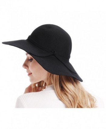 d45c31ec96b1b Women s Wide Brim Wool Ribbon Band Floppy Hat - Black - C911N7Q029P