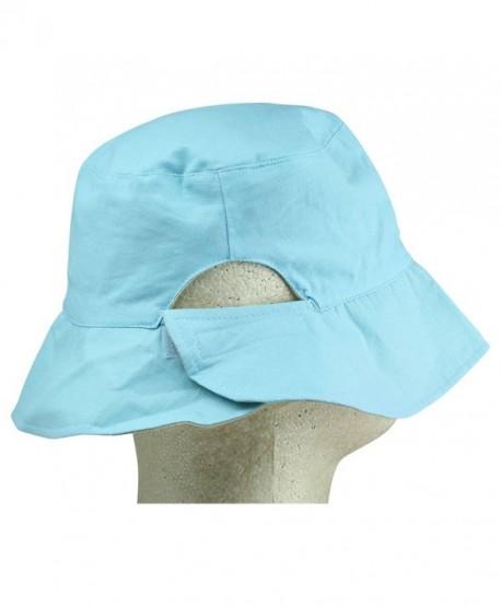 Ladies Ponytail Bucket Hat Womens Sun Hat - Blue - C4119512S1V