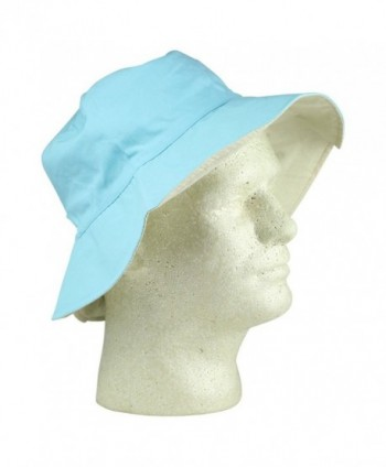 Womens Ponytail Bucket Blue Ivory in Women's Bucket Hats