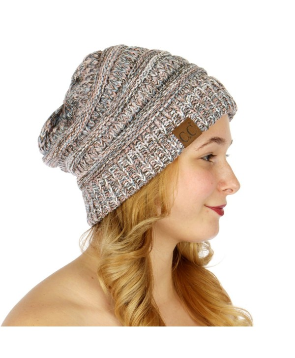 C.C Unisex 4 Tone Multicolor Warm Cable Knit Thick Beanie Hat - Baby Blue/Pink/Green/White - C2186GZOU5L