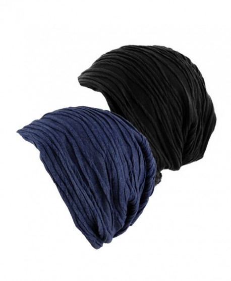 2 Pack Stylish Wrinkled Beanie Cap Slouchy Skull Hat - Black/Navy - CL12N1IBVYS