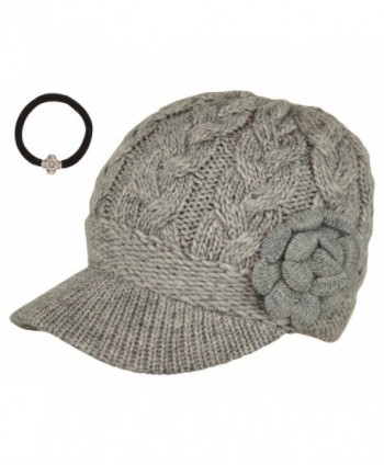 J-Fashion Women's Cable Knitted Double Layer Visor Beanie Hats with Hair Tie - Floral Grey - CV1297IXA7B