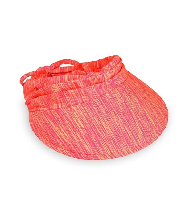 Wallaroo Women's Aqua Sun Visor - Quick-Drying Lightweight Sun Hat - Pink/Orange - CK189A4M7AA