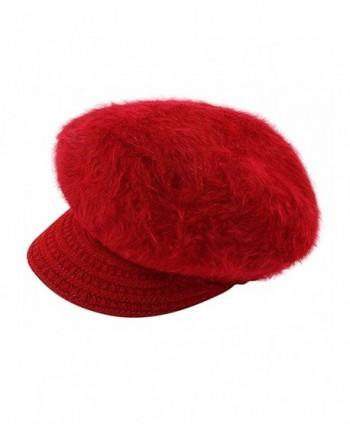 Editha Women Faux Rabbit Fur Knit Beanie Hat Winter Warm Fleece Lined Skull Cap Skullies Beanies - Red - C8188C2KIWL