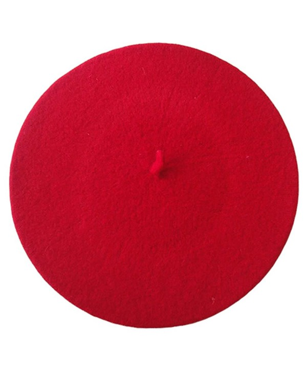 Women's French Style Soft Lightweight Casual Classic Solid Color Wool Beret - Red - C212HGGSL99