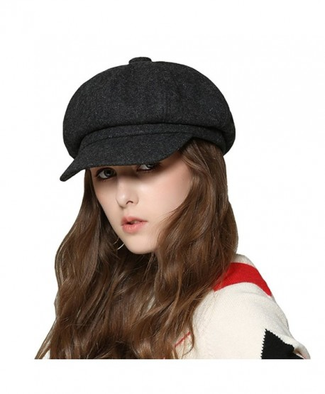 5665ca9544deb Womens Newsboy Hat Beret Cap Visor Hats for Ladies Wool Newsboy Beret Cap -  Dark Gray - CA1879DX4K5