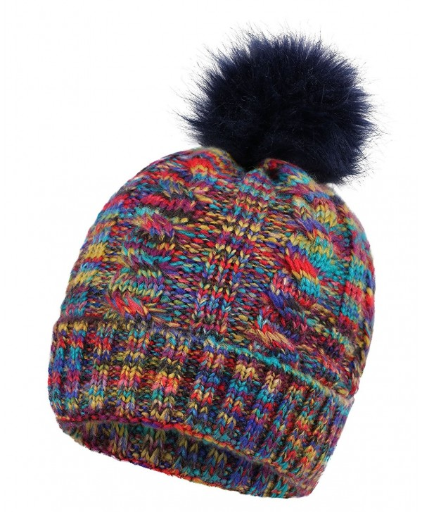 Arctic Paw Heathered Girls Children Mommy&me Multicolor Cable Knit Pompom Beanie - Adult-mix Purple - CH183O3XGXN