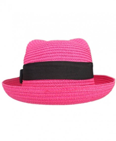 44b771d1b2e Women Vintage Cat Ear Bowler Straw Hat Sun Summer Beach Roll-up Bowknot Cap  Hat - Rose - C312DOGXDRF