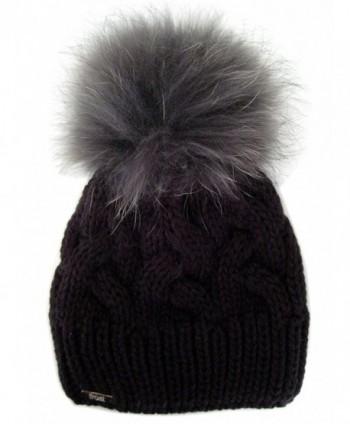 Frost Hats Warm and Soft Winter Beanie With Detachable Genuine Fox Fur Pom M-179SRN - Black - C911ZTTBKM1