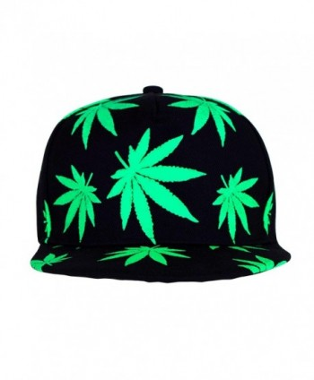 Marijuana Hat Snapback Weed Leaf Baseball Cap Headwear Cannabis Adjustable - Green - C412LO13LGF