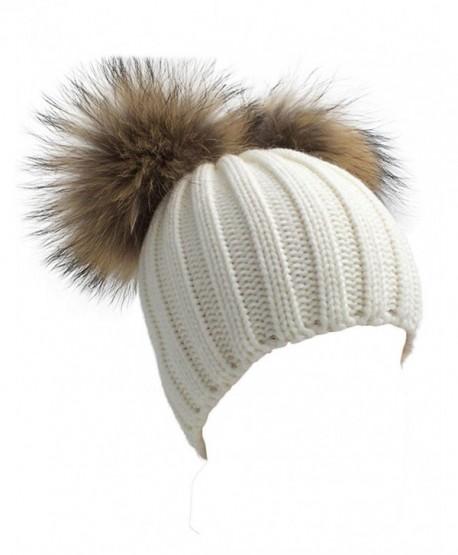 Winter Knit Crochet Beanie Raccoon Fur Double Pom Pom Ball Bobble Hat Crochet Ski Cap - White - CY186NQ68H3