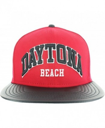 Snapback Leather Bill Collection MIAMI- ORLANDO- KEY WEST- DAYTONA - Daytona - Red and Black - C112I73FEJ5