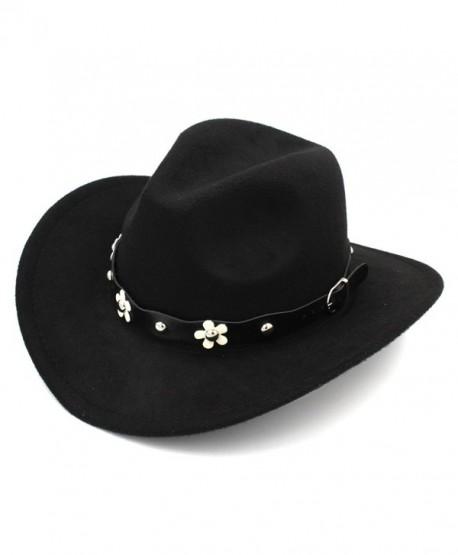 Elee Women Western Cowboy Hat Wide Brim Cowgirl Cap Flower Charms Leather Band - Black - CH1883E0532