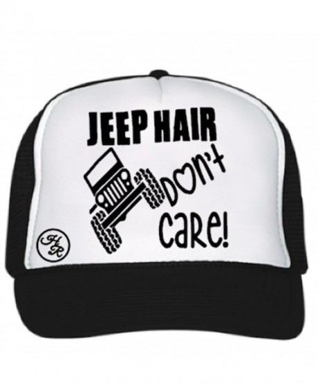 36ff347f2ef3a Jeep Hair Don t Care Hat! Five panel mesh trucker hat. - Black and White -  CV184KRQXLD