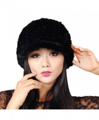 URSFUR Women's Mink Fur Knit Newsboy Hat Multicolor - Black - CZ11M0CUW29